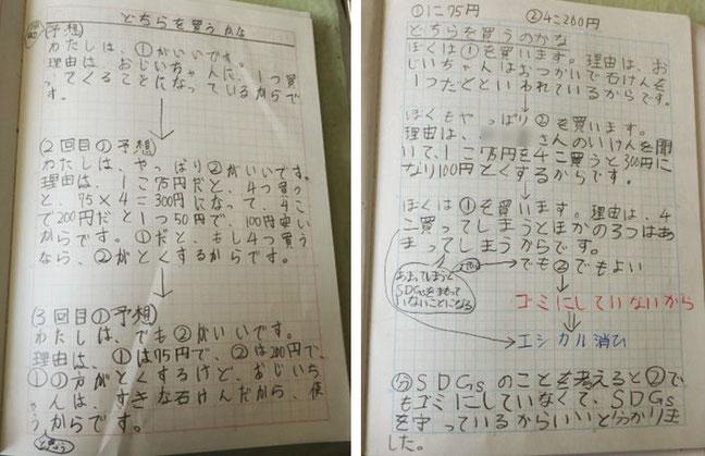 写真2:算数での既習の知識を根拠に②がよいと説明した子の意見を受けて、子どもたちのノートの記述に見られる思考の変容