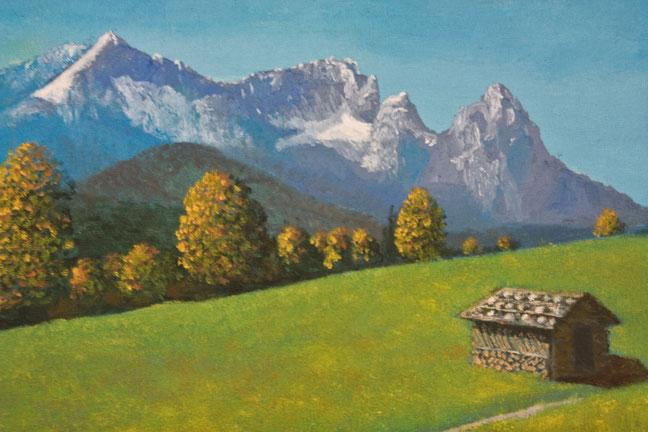 Wetterstein-Gebirge, Öl auf Papier, Maurice Küsel