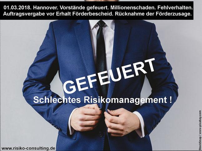 Entlassung Vorstand. Fehlverhalten. Schlechtes Risikomanagement.