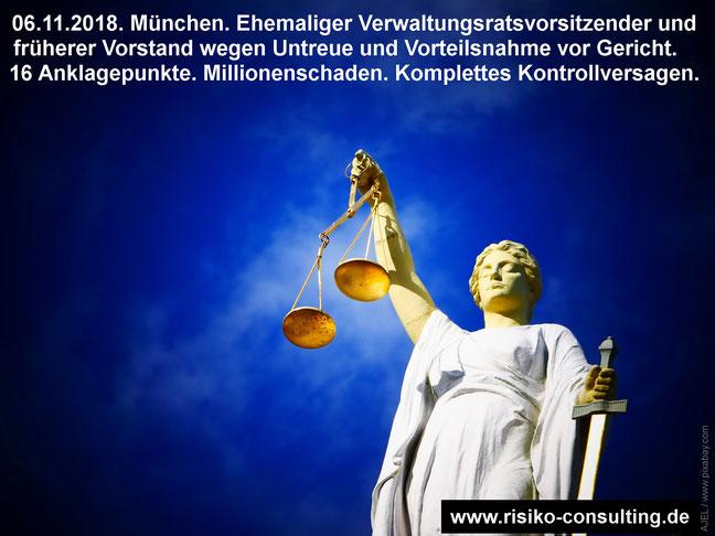 Gerichtsprozess wegen Untreue und Vorteilsnahme mit Millionenschaden. Keine wirksame Kontrolle. Besserer Schutz durch effektives Risikomanagement.