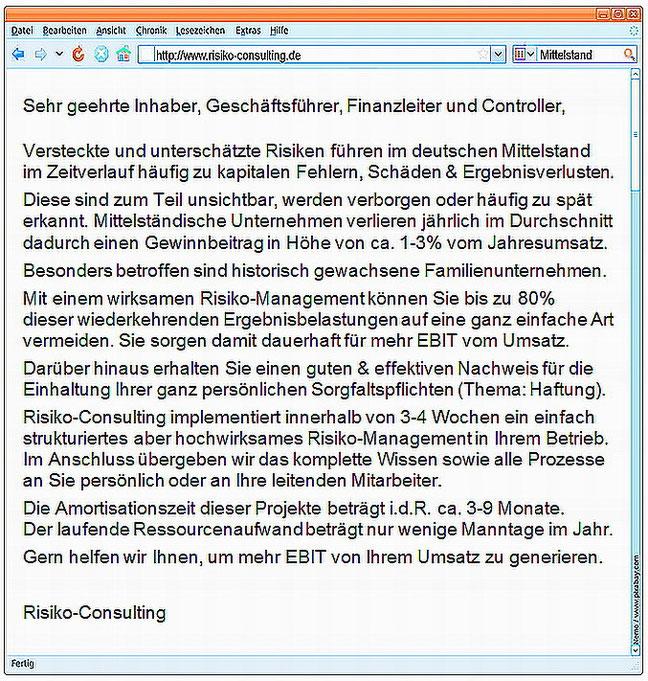 Risiko-Consulting: Managerbrief Mittelstand - Risiko-Management und Managerhaftung. Wichtig für alle Inhaber, Geschäftsführer & Controller im Mittelstand.