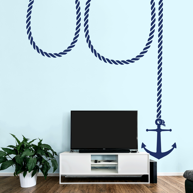 Anchor and Rope sticker for nautical themed rooms room from www.wallartcompany.co.uk