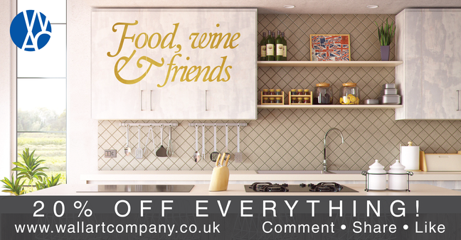 20% off everything wall art stickers and decals from www.wallartcompany.co.uk