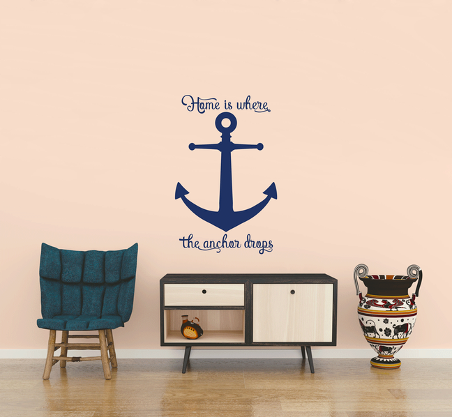 Home is where the anchor drops  sticker in a bathroom creating an sea themed room from www.wallartcompany.co.uk