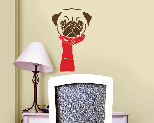 Pug wall art sticker cute dog.