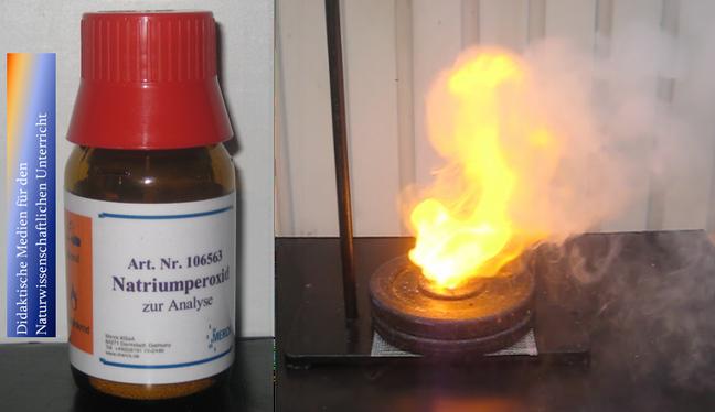 Natriumperoxid kann in Verbindung mit Wasser Holzspäne entzünden
