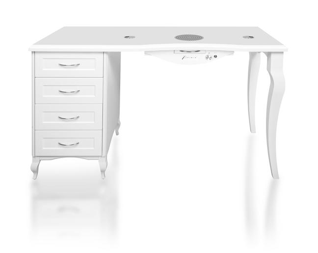 Nageltisch – Einzeltisch mit einem Schrank und verchromtem Fuss