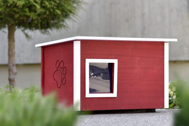 Naturfarbene und farbige Katzenhäuser (Katzenhütten), wetterfest, mit und ohne Heizung, isoliert, eigene Herstellung in Deutschland