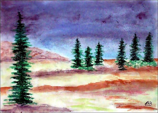 Hügellandschaft, Bäume, Pastellgemälde, Wiese, Feldlandschaft, Kiefern, Tannen, Landschaftsbild, Hügel, Pastellmalerei, Pastellbild