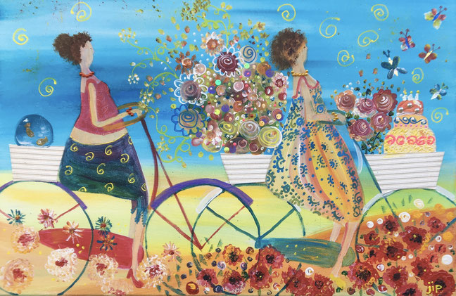 een vrolijk schilderij met 2 dames op de fiets