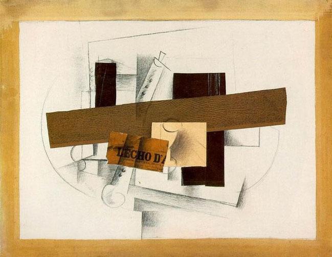 『クラリネットのある静物』(1913年)パピエ・コレ。