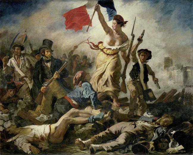 ウィジェーヌ・ドラクロワ《民衆を導く自由》1830年