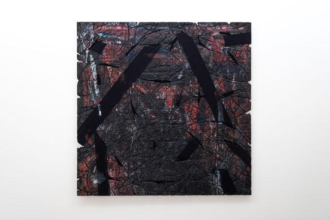 無題,  合板・塗料・アクリル絵具・布,  122x122cm, 1990