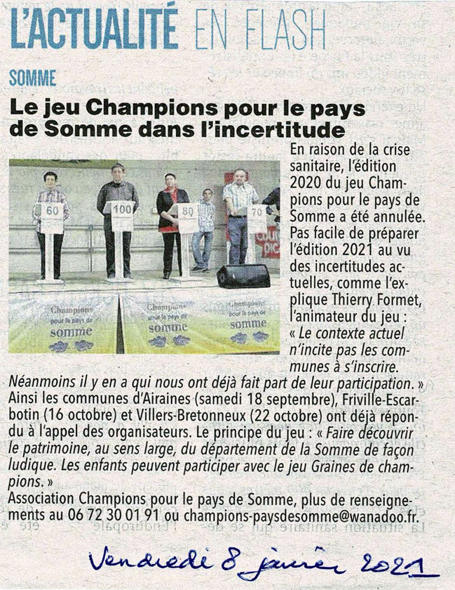 Article du Courrier Picard - Janvier 2021