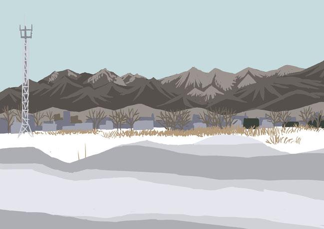 石狩から見た手稲山