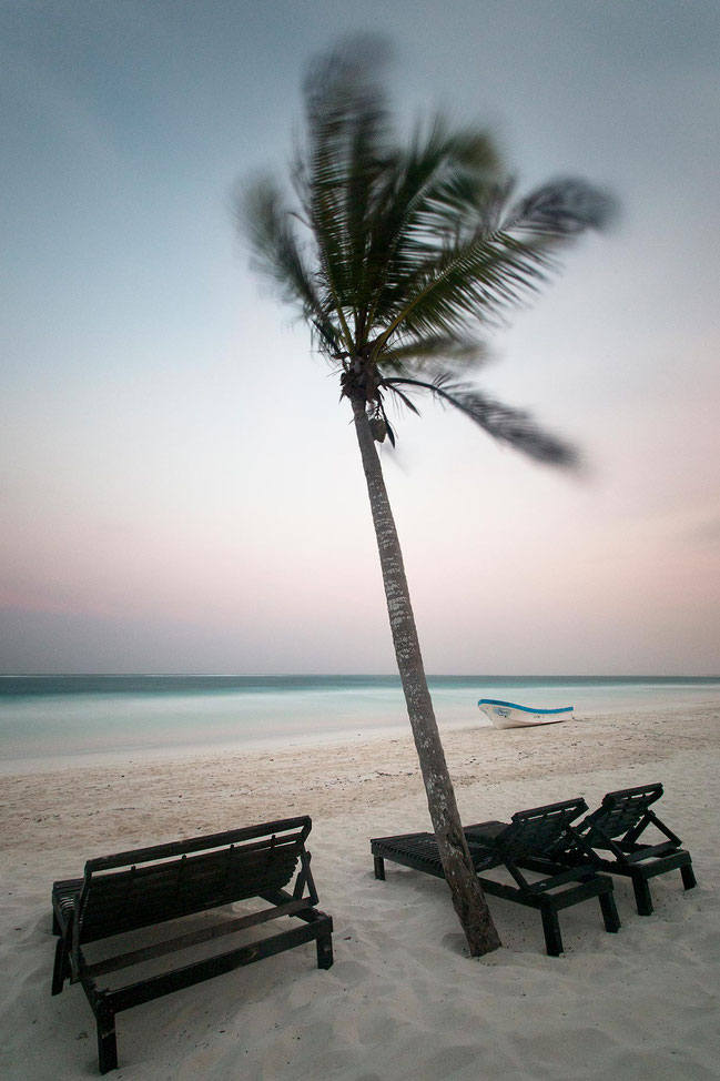 Palm trees and a boat and white beach, Caribbean Sea, long exposure, Tulum, Yucatan Peninsula, Mexico, 1213x1820px