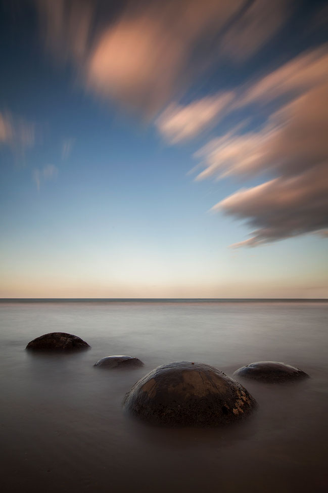 Moeraki Boulders during sunset at Koekohe Beach, Pacific, Long Exposure, Southern Island, New Zealand, 1212x1820px