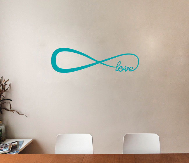 Infinity Love symbol vinyl wall art decal from www.wallartcompany.co.uk comes in loads of colours