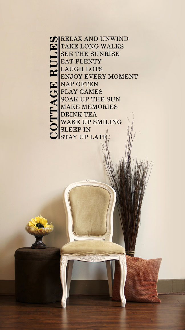 Cottage rules for fun decoration of a cottage wall art sticker. From wallartcompany.co.uk