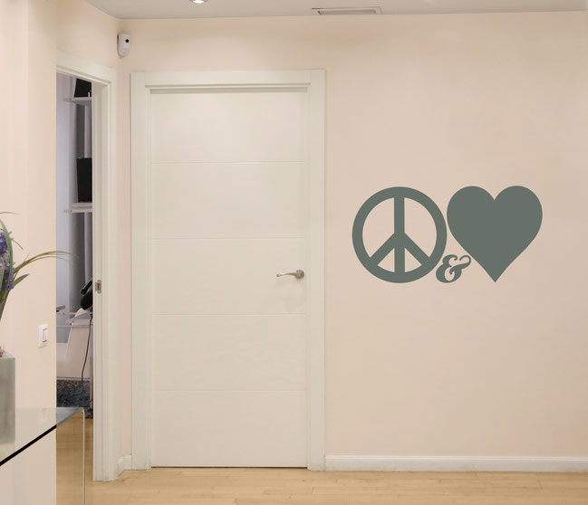 Peace & Love vinyl Wall art decals from www.wallartcompany.co.uk