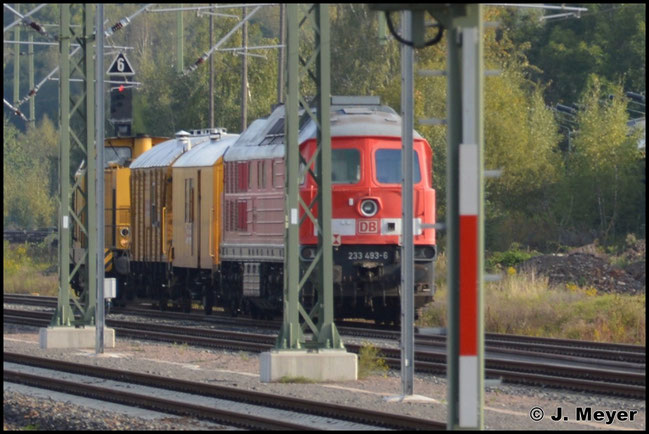 233 493-6 ist inzwischen für die DGT unterwegs und in gelb lackiert. Am 24. September 2014 wird die Maschine aus der z-Stellung im AW Chemnitz nach Cottbus überführt, wo die Lok ihre HU und neue Farbe bekommen hat. Hier steht die Fuhre am Asig in Chemnitz