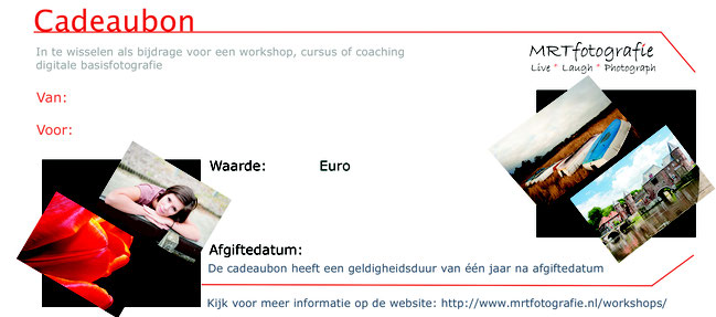 Cadeaubon voor workshop, cursus, e-book of fotoshoot van MRTfotografie