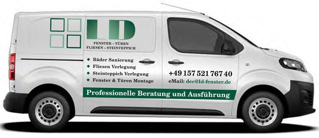 Fahrzeugbeschriftung rechte Seite der Firme LD-Fenster.