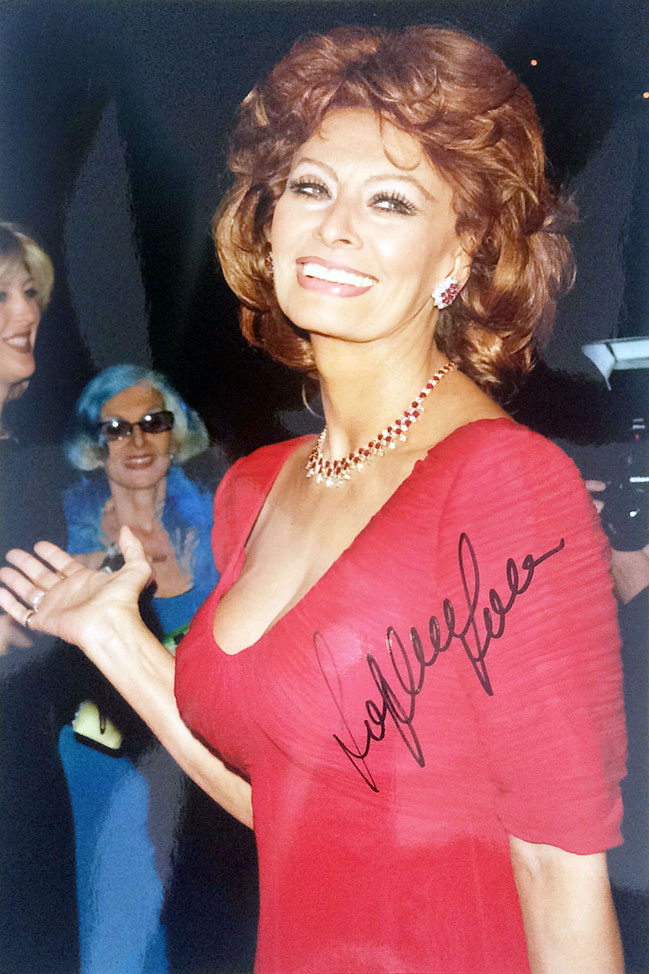 "Sophia Loren, Italian Actress and Singer, received Academy Honorary Award for  contributions to world cinema 1991: declared ""one of the world cinema's treasures"", 1995 Golden Globe Cecil B. DeMille Award, Picture bought at dreamstime, Autograph by Mail"
