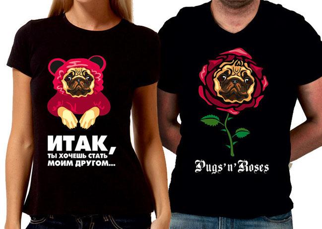 Принты на футболки для мопсоголиков!))
