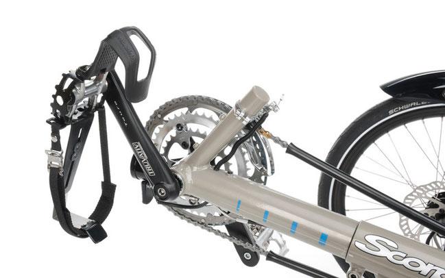 Pedal mit Fersenhalt und Fußhaken am Scorpion plus © HP-Velotechnik