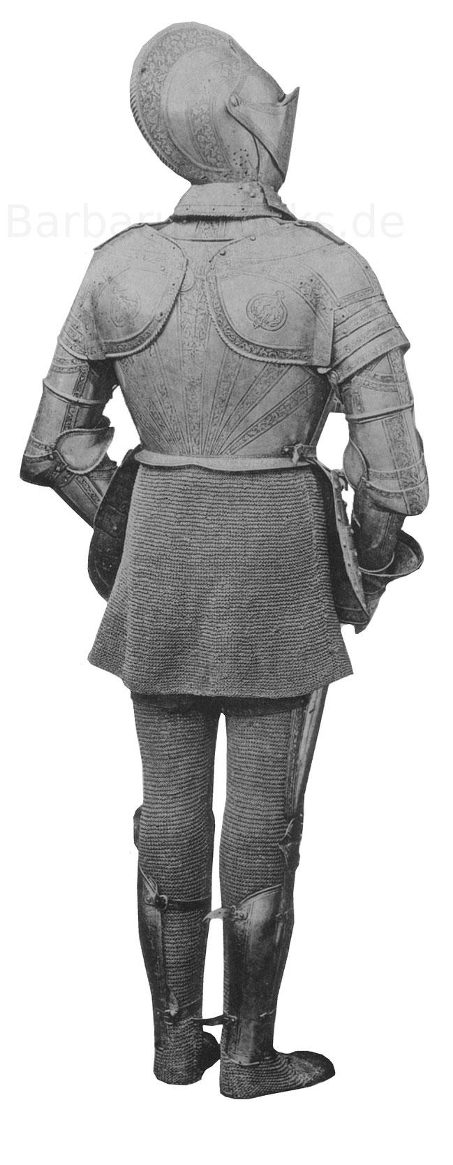 Rückseite der Prunkrüstung aus der Mitte des 16. Jahrhunderts