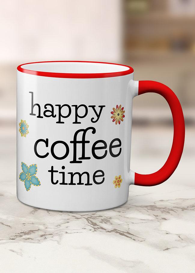 bedruckte Tassen happy coffee time
