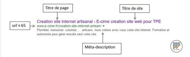 Affichage Google avec meta description par e-cime.fr création de site internet