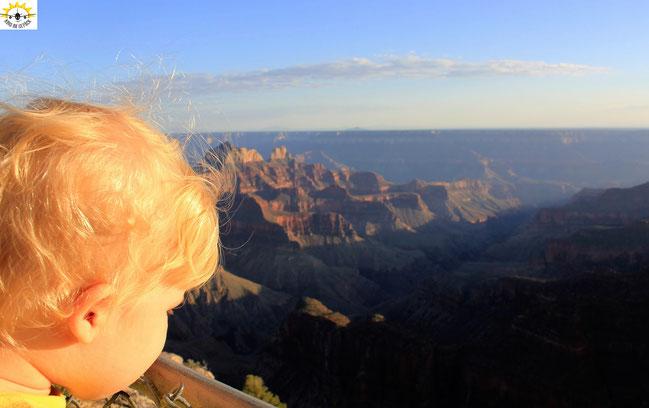 Kleinkind Samu genießt den Blick in den Grand Canyon.