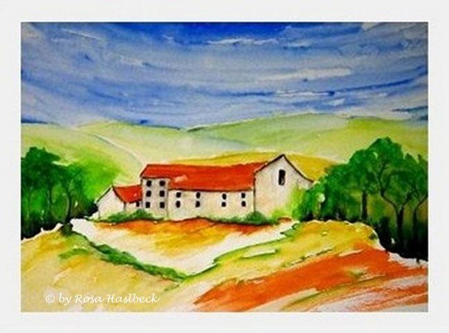 aquarell, landschaft, landschaftsaquarell kaufen , haus, bäume, blau, grün, rot, braun, gelb,  orange, bild, kunst, bilder, malerei, malen, deko, dekoration, wandbilder, wand, geschenkidee, geschenke,malen, malerei, handgemalt,