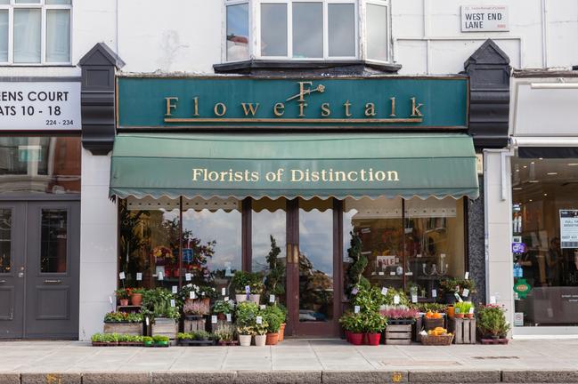 ウェストハムステッドというロンドンの人気エリアの一つに、古くから親しまれる花屋フラワーストークロンドン本店。カフェやヘアサロンが立ち並ぶお洒落な通りに面している。