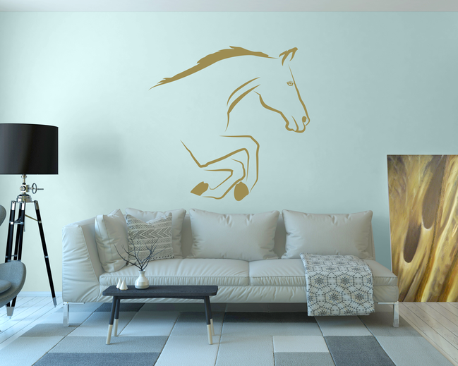 Bounding Horse wall art decal for easy home decoration.