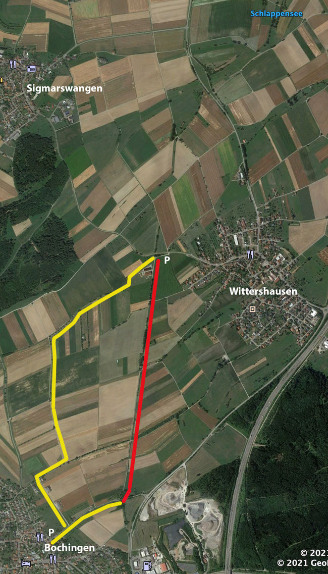 Rot = Römerstraße -- Gelb = Wanderweg