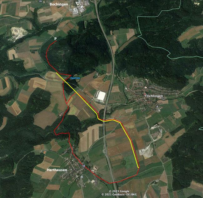 Rote Linie = Wanderweg. Gelbe Linie = Römerstraße