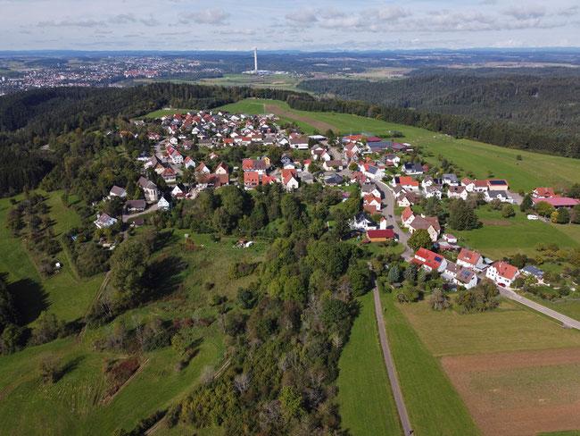 Feckenhausen, schöne Höhenlage. Im Hintergrund Rottweil