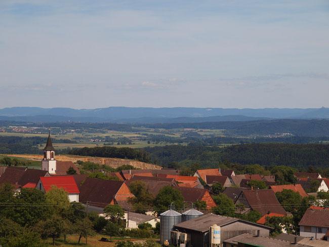 Blick vom Aussichtsturm über Dürrenmettstetten Richtung Alb