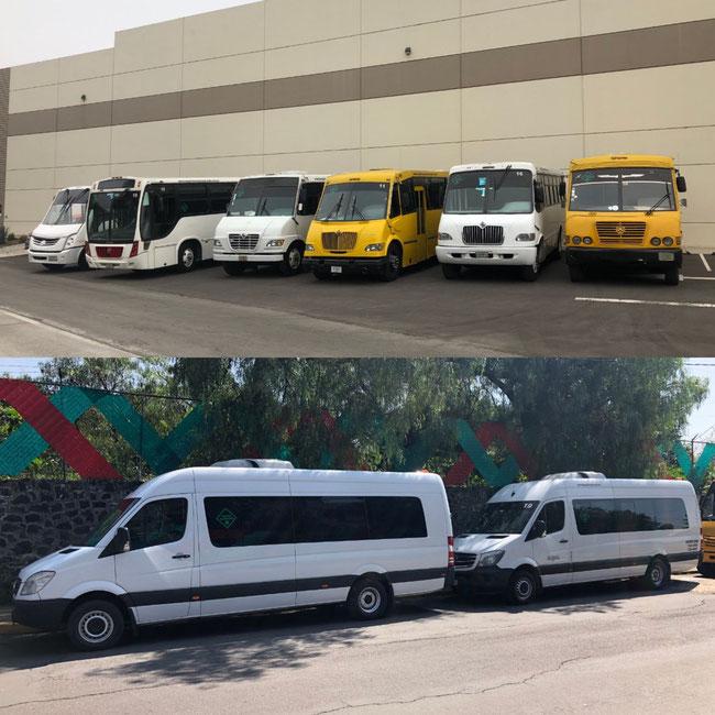 Empresa de transporte escolar de personal y turismo en camiones y camionetas en la Ciudad de México, servicio las 24 horas del dia los 365 dias del año