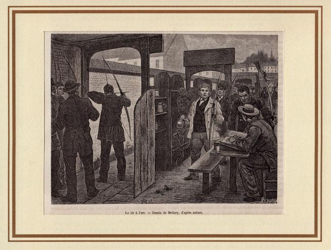 Le tir à l`arc (Das Bogenschiessen) - Holzstich von 1880