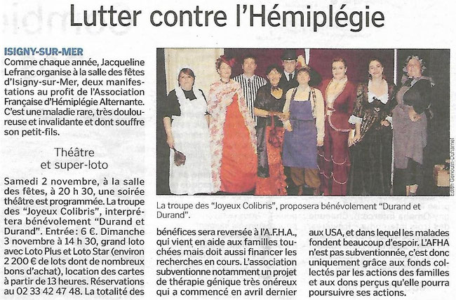"Article du journal ""Le Bessin Libre"" du 26 Octobre 2019"