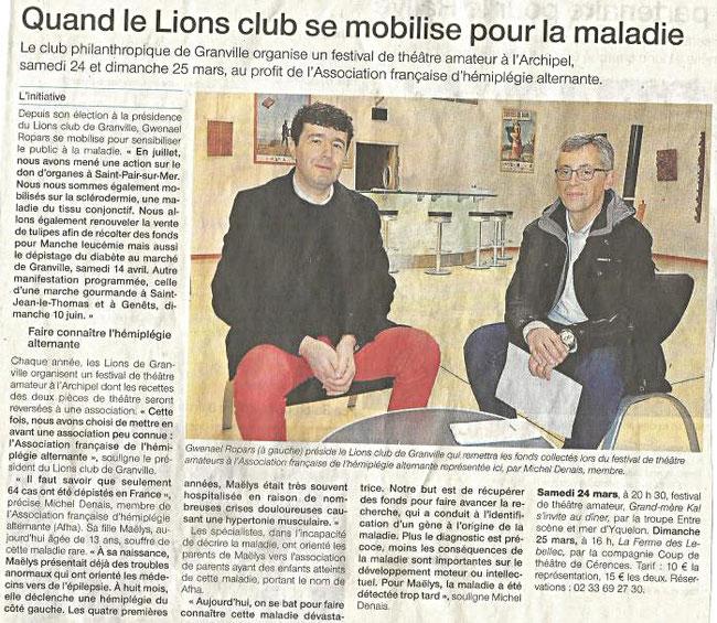 """Article de l'hebdomadaire régional """"La Manche Libre """""""