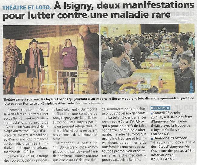 """Article paru dans le journal """"La Renaissance du Bessin"""" le 27 Octobre 2017"""