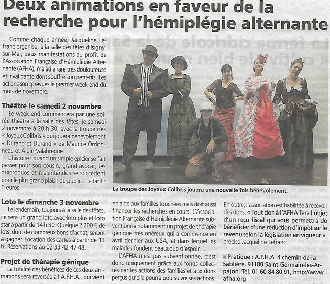 "Article du journal ""Renaissance du Bessin"" du 25 Octobre 2019"
