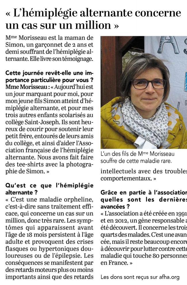 """Article paru dans l'édition du 28 Mars 2018 du """"COURRIER DE L'OUEST"""""""