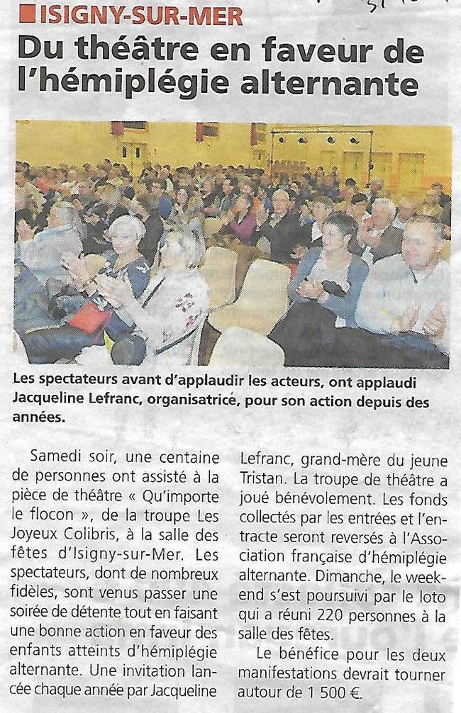 """Article paru dans le journal """"La Renaissance du Bessin"""" le 31 Octobre 2017"""