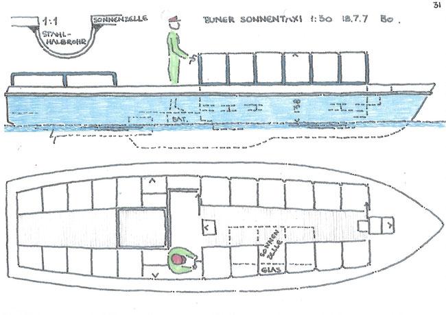 Eine meiner damaligen Skizzen zum Sonnentaxi